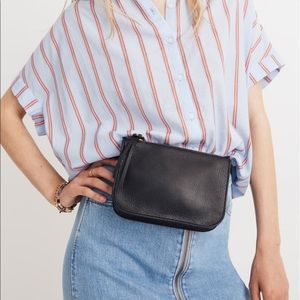 Madewell simple pouch belt bag black leather XL